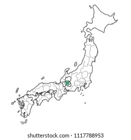 flag of gifu prefecture on map with administrative divisions and borders of japan