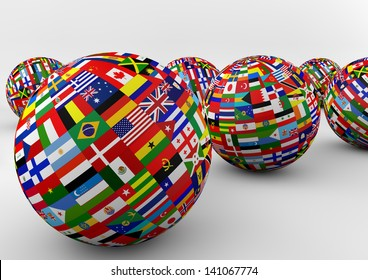 Similar images stock photos vectors of world flags form speech flag globe with different country flags freerunsca Image collections