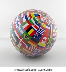 Flag Globe glossy new version