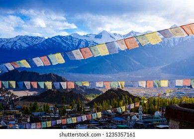 Flag of the gods in the Leh-Ladakh city on afternoon light, place in Leh-Ladakh india city , time for capture on winter season it is beautiful background, landscape view