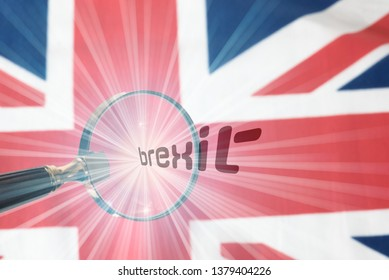 Flag of Great Britain, a magnifying glass and the word Brexit