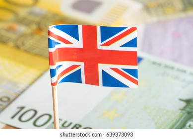 Flag of Great Britain and many euro banknotes