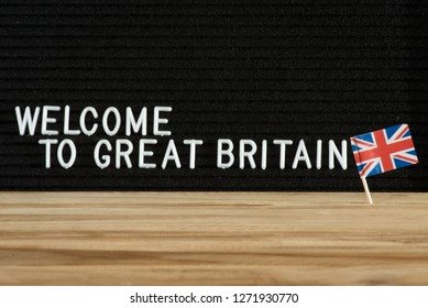 Flag of Great Britain and the welcome in the UK