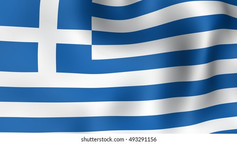 Flag of Greece, fluttering in the wind. 3D rendering.