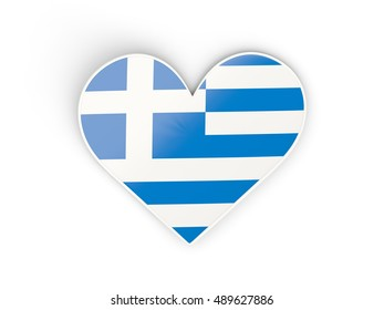 Flag of greece, heart shaped sticker isolated on white. 3D illustration