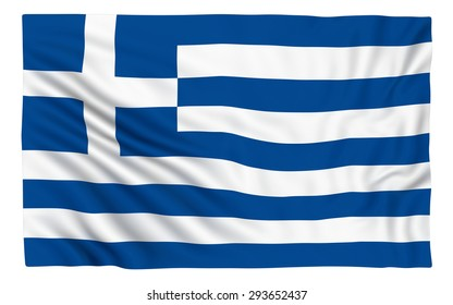 Flag of Greece , isolated on white.