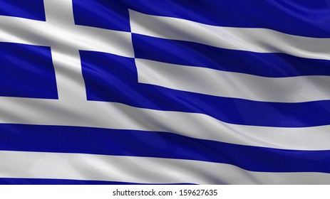 Flag of Greece waving in the wind