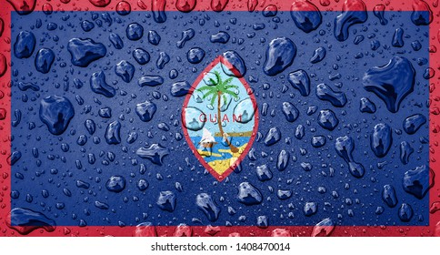 Flag of Guam on a metallic background with rain droplets