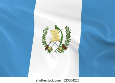 Flag of Guatemala - 3D Render of the Guatemalan Flag with Silky Reflective Texture