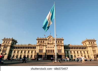 Flag of Guatemala in front of Cultural Center of Guatemala. central palace.
