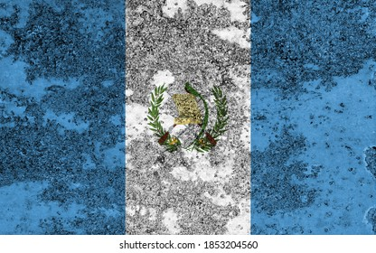 Flag of Guatemala painted on the old grunge rustic iron surface. Abstract paint of Guatemala national flag on the iron surface