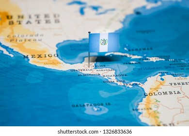 the Flag of guatemala in the world map
