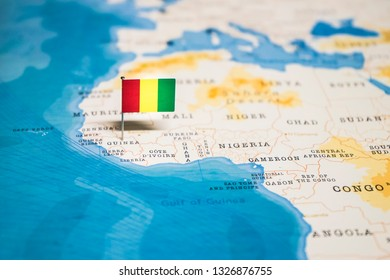 the Flag of guinea in the world map