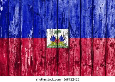 Flag of Haiti painted on wooden frame