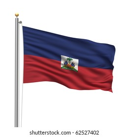 Flag of Haiti with flag pole waving in the wind over white background