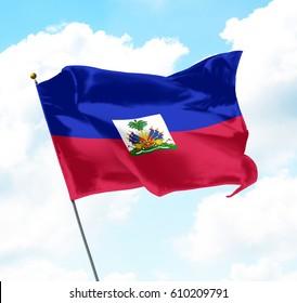 Flag of Haiti Raised Up in The Sky