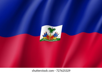 Flag Haiti realistic icon. State insignia of the nation in realistic style on the entire page. Waving state flag. National symbol in the form of a  illustration