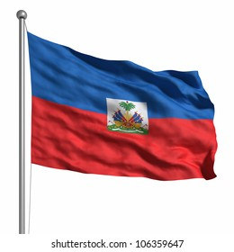Flag of the Haiti. Rendered with fabric texture (visible at 100%). Clipping path included.
