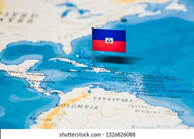 the Flag of haiti in the world map