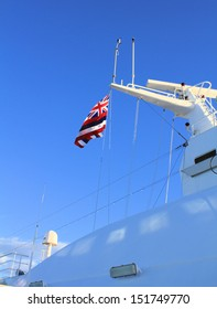 Flag of Hawaii state on cruise ship mast