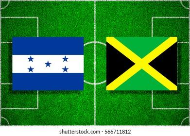 Flag of Honduras - Jamaica on the football field. football friendly match