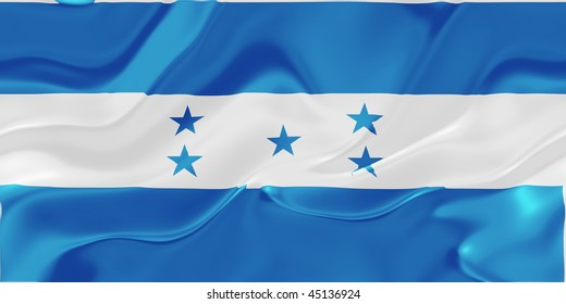 Flag of Honduras, national country symbol illustration wavy fabric