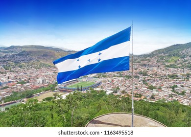 Flag of Honduras in Tegucigalpa