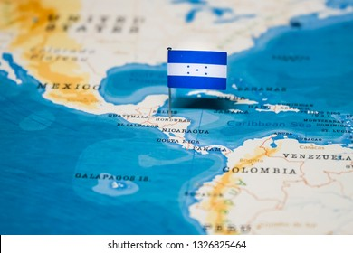the Flag of honduras in the world map