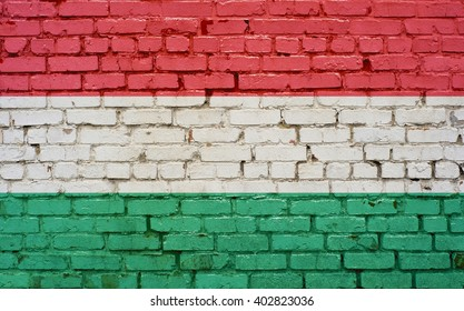 Flag of Hungary painted on brick wall, background texture