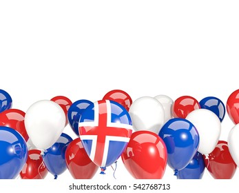 Flag of iceland, with balloons isolated on white. 3D illustration
