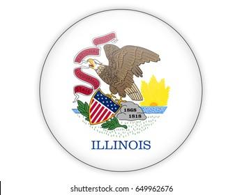 Flag of illinois, US state icon isolated on white. 3D illustration