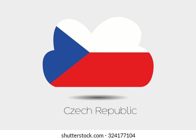 A Flag Illustration inside a cloud of the country of Czech Republic