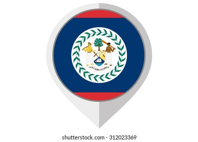 A Flag Illustration inside a pointed of the country of Belize