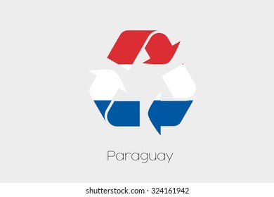 A Flag Illustration inside a Recycling Icon of the country of Paraguay
