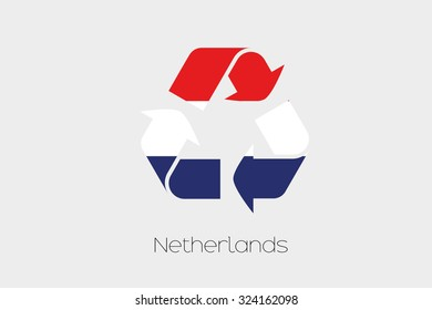A Flag Illustration inside a Recycling Icon of the country of Netherlands