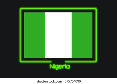 A Flag Illustration With a Neon Outline of Nigeria