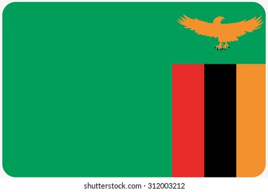 A Flag Illustration with rounded corners of the country of Zambia