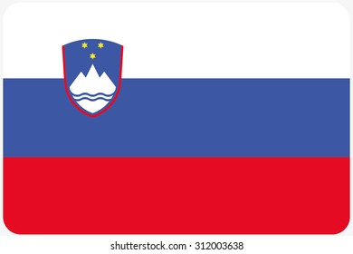 A Flag Illustration with rounded corners of the country of Slovenia
