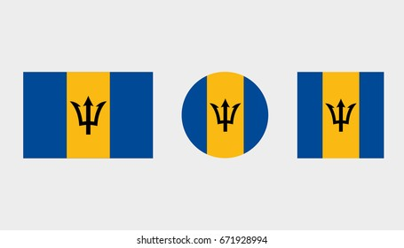 Flag Illustrations of the country  of Barbados