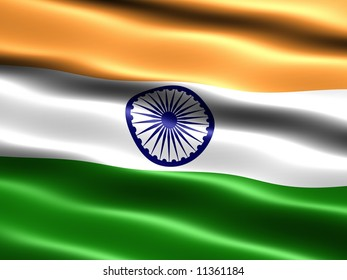 Flag of India, computer generated illustration with silky appearance and waves