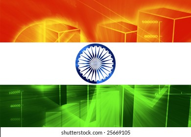 Flag of India, national country symbol illustration