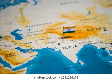 the Flag of india on new delhi in the world map
