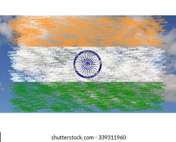 Flag of India painted on words peace please, on background with clouds