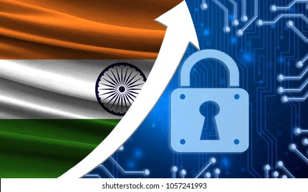 The flag of India together with the blue cryptogram and the up arrow with the lock. This concept shows the increased level of security of the crypto currency and blockchain wallets.