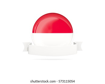 Flag of indonesia with empty banner  isolated on white. 3D illustration
