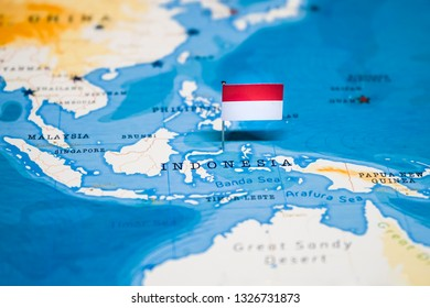 the Flag of Indonesia in the world map