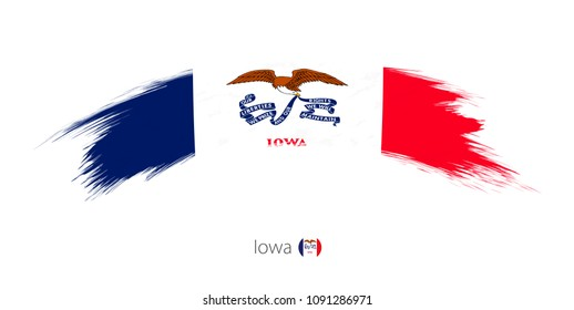 Flag of Iowa state in rounded grunge brush stroke. Raster copy.
