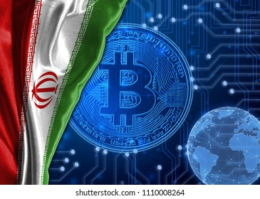 Flag of Iran against the background of crypto currency bitcoin.