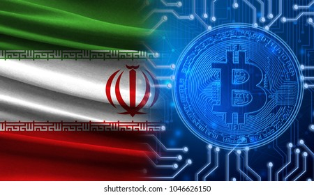 Flag of Iran against the background of a cryptogram with a bitcoin