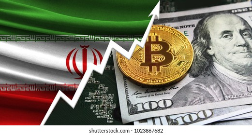 flag of Iran and bitcoin coins
